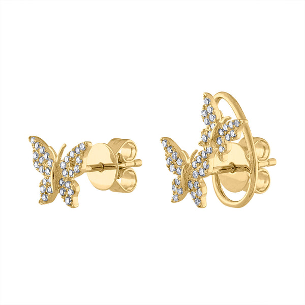 14K Yellow Gold diamond butterfly and double butterfly earring