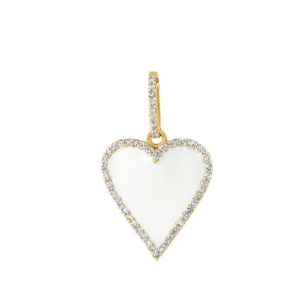 14KT YELLOW GOLD WHITE ENAMEL AND DIAMOND HEART CHARM