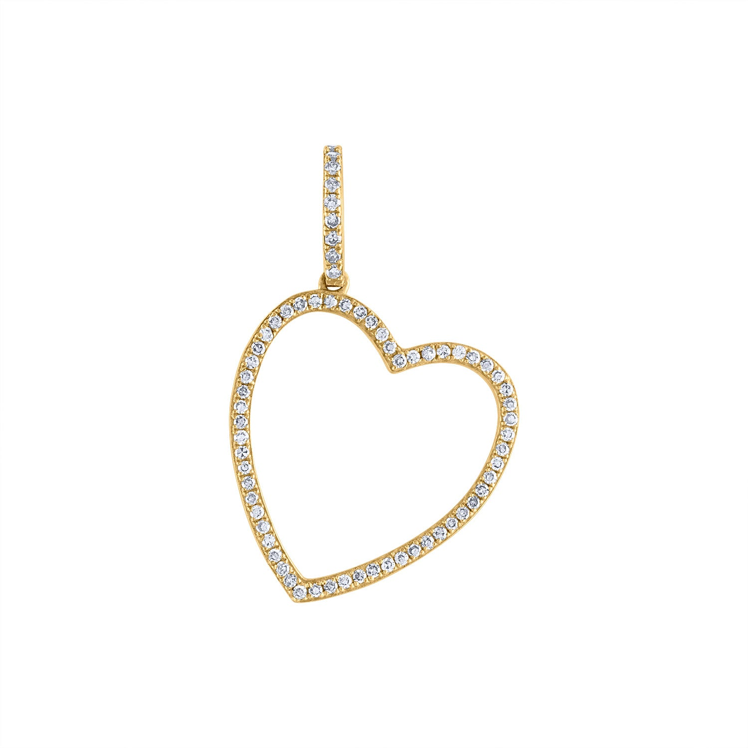 14KT YELLOW GOLD DIAMOND OUTLINE HEART CHARM