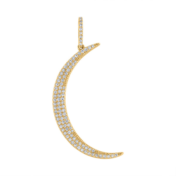 14KT YELLOW GOLD MEDIUM CRESCENT MOON CHARM
