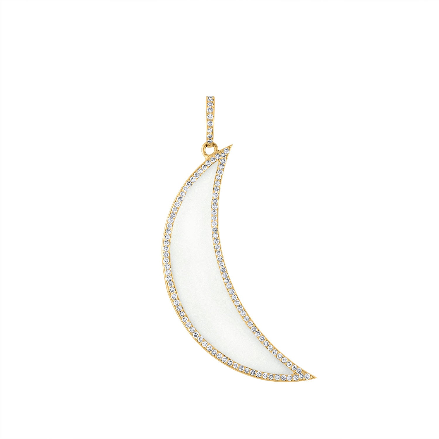 14KT YELLOW GOLD XL WHITE ENAMEL AND DIAMOND CRESCENT MOON CHARM