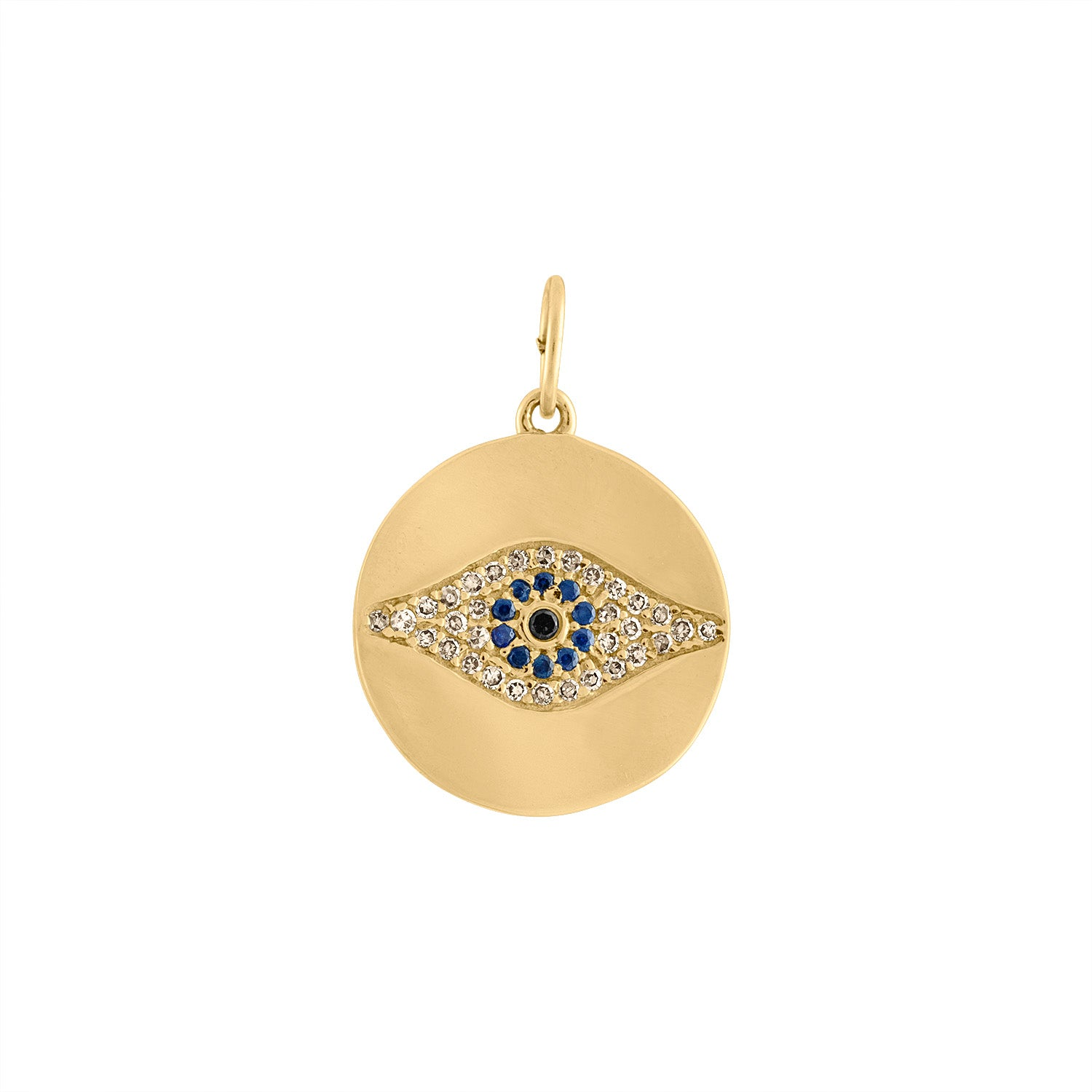 14KT YELLOW GOLD DIAMOND EVIL EYE DISK CHARM