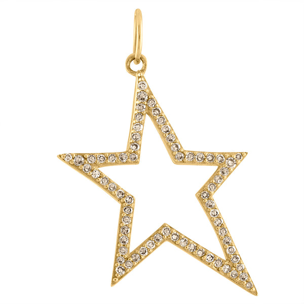 14KT YELLOW GOLD DIAMOND OUTLINE STAR CHARM