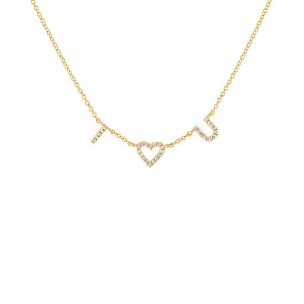 "14KT GOLD DIAMOND ""I HEART U"" NECKLACE"