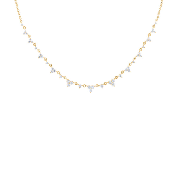 14KT GOLD DIAMOND THREE STONE TRIANGLE NECKLACE