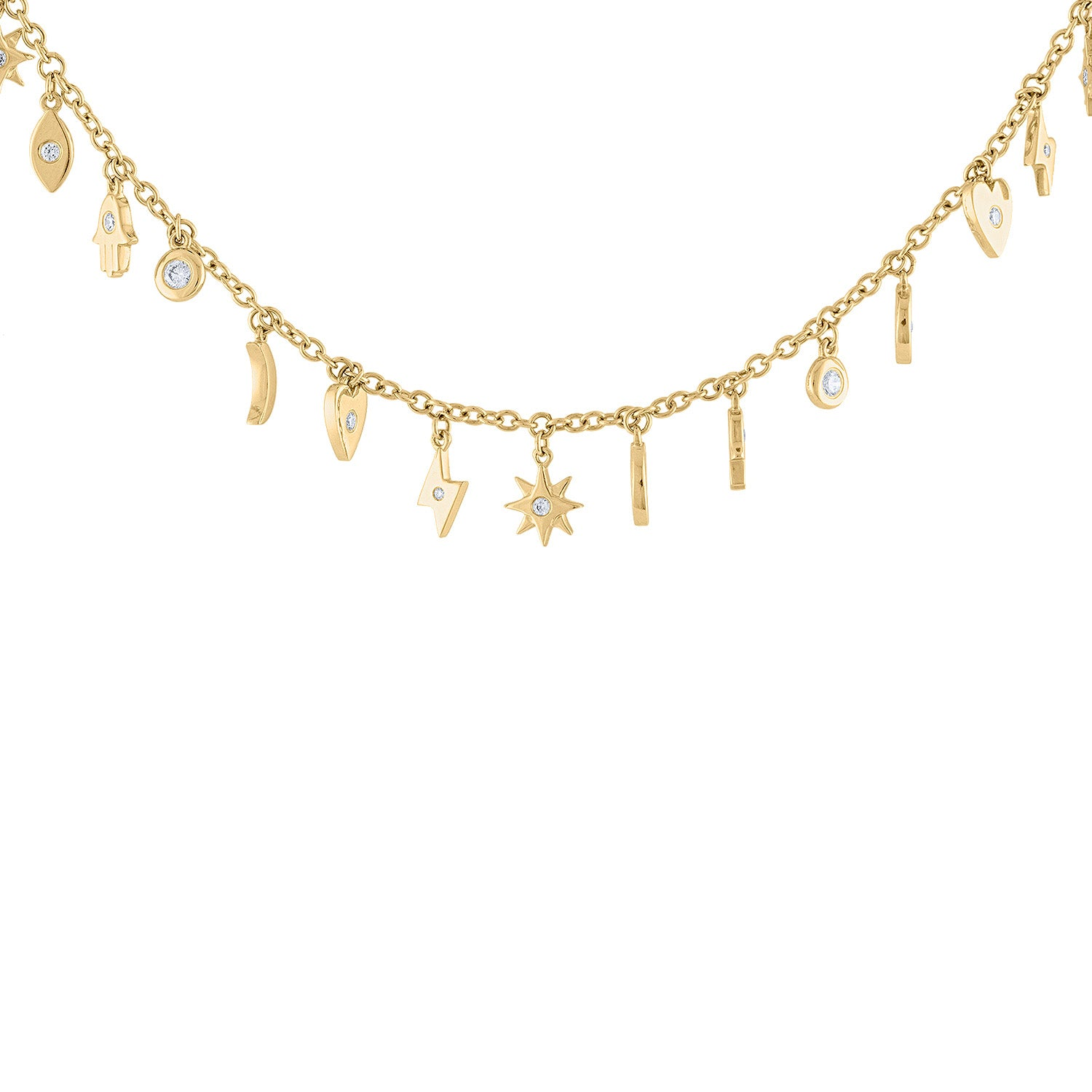 14KT GOLD DIAMOND MULTI CHARM DANGLE NECKLACE