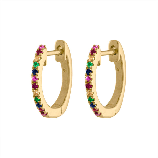 14KT GOLD MULTI-COLOR HUGGIE EARRING