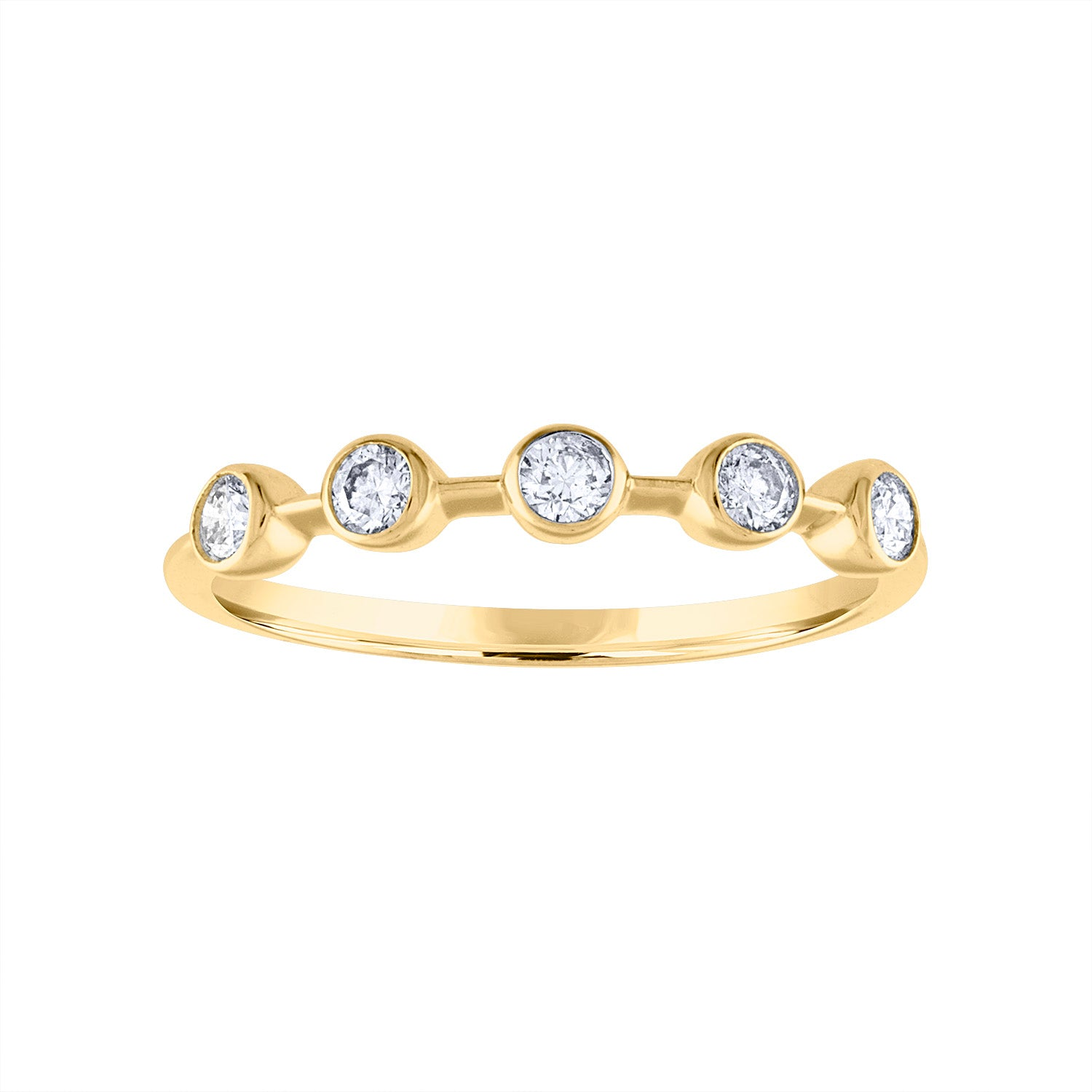 18KT GOLD FIVE BEZEL SET DIAMOND RING