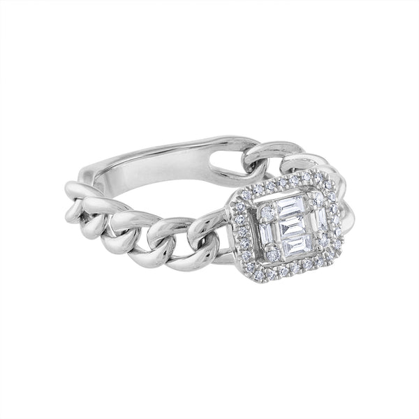 14KT GOLD DIAMOND BAGUETTE CHAIN LINK RING