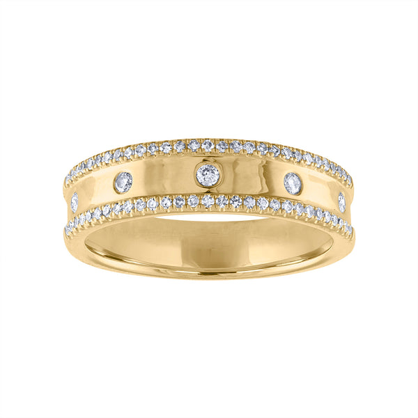 14KT GOLD SCATTERED DIAMOND TWO LINE RING