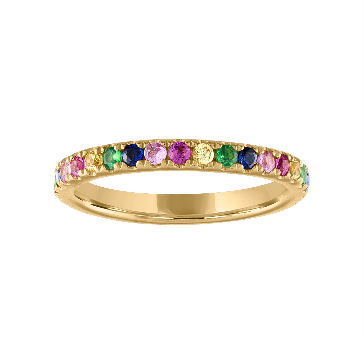 14KT GOLD MULTI-COLOR SAPPHIRE RING GUARD