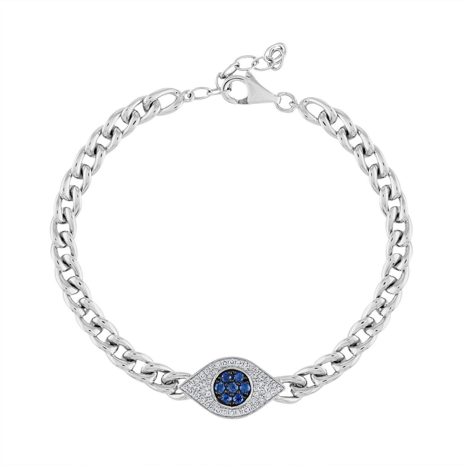 14KT GOLD DIAMOND AND BLUE SAPPHIRE EVIL EYE LINK BRACELET
