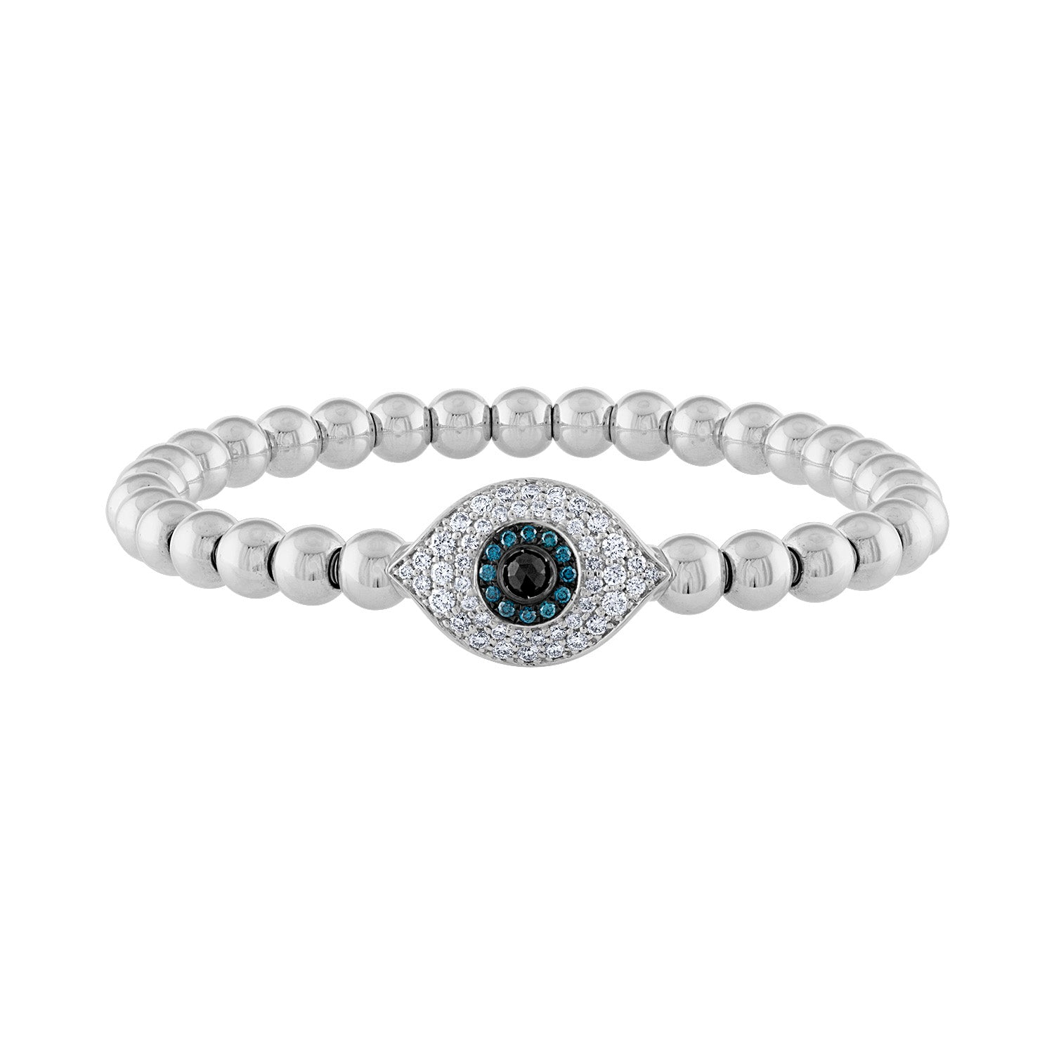 14K White Gold evil eye ball diamond bracelet
