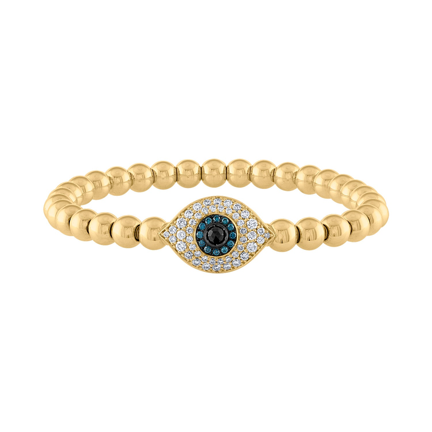 14K Yellow Gold evil eye ball diamond bracelet
