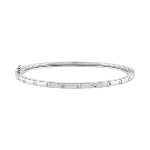 14K White Gold scattered diamond bangle