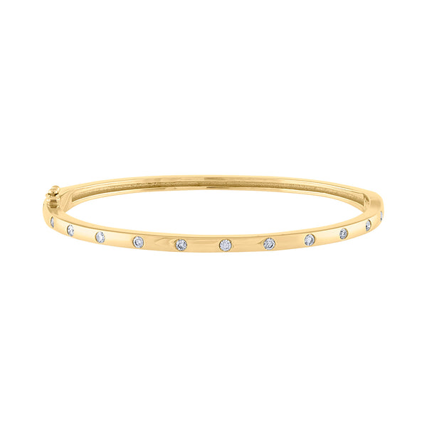 14K Yellow Gold scattered diamond bangle
