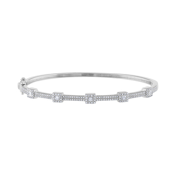 14K White Gold baguette pave diamond bangle