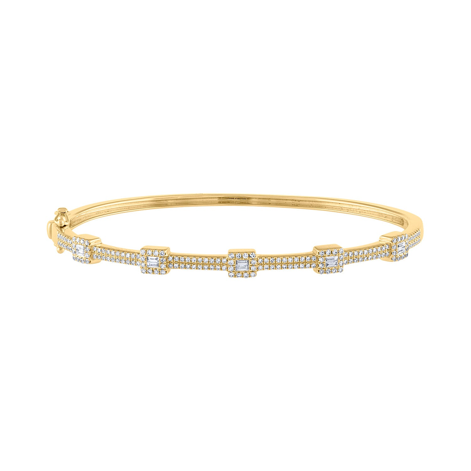 14K Yellow Gold baguette pave diamond bangle