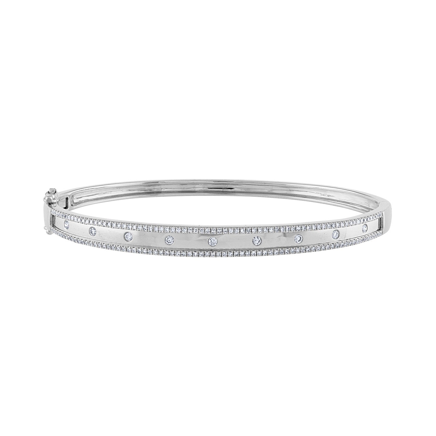 14K White Gold diamond two line scattered bangle