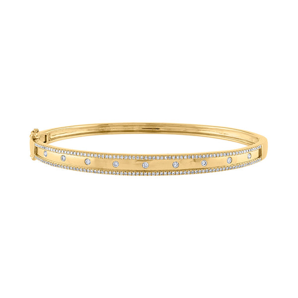 14K Yellow Gold diamond two line scattered bangle