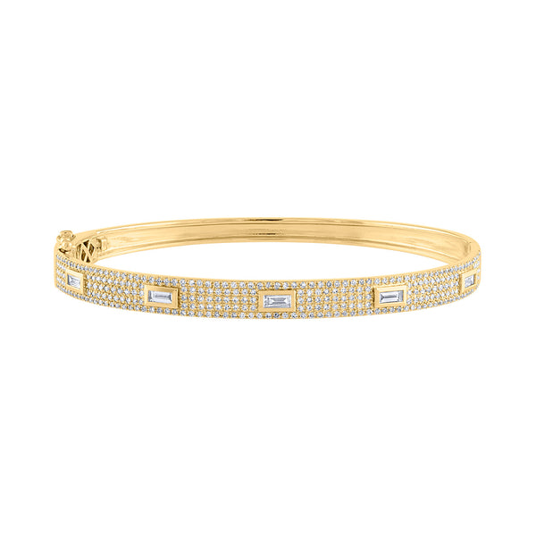 14K Yellow Gold five baguette diamond bangle