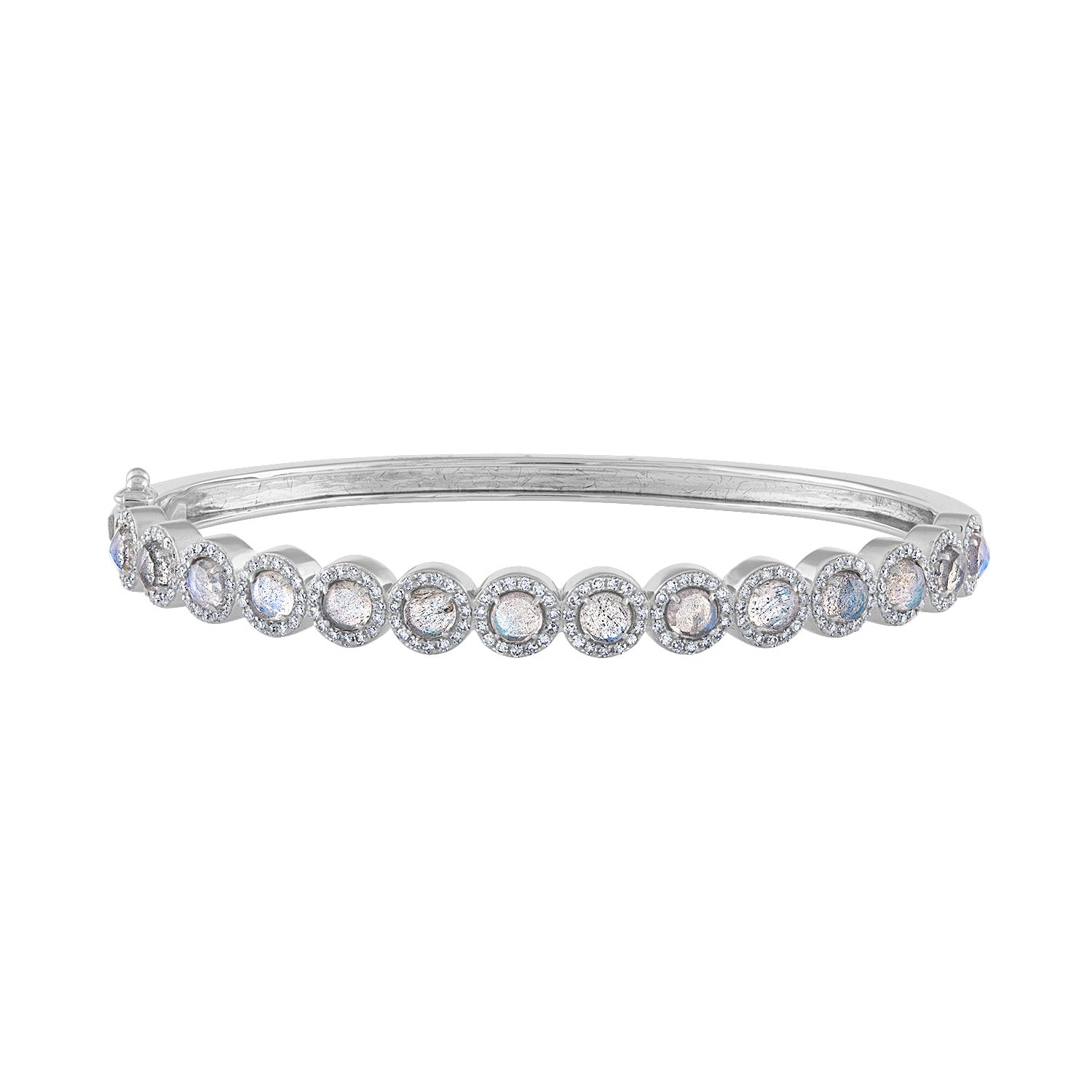14K White Gold diamond labradorite martini bracelet