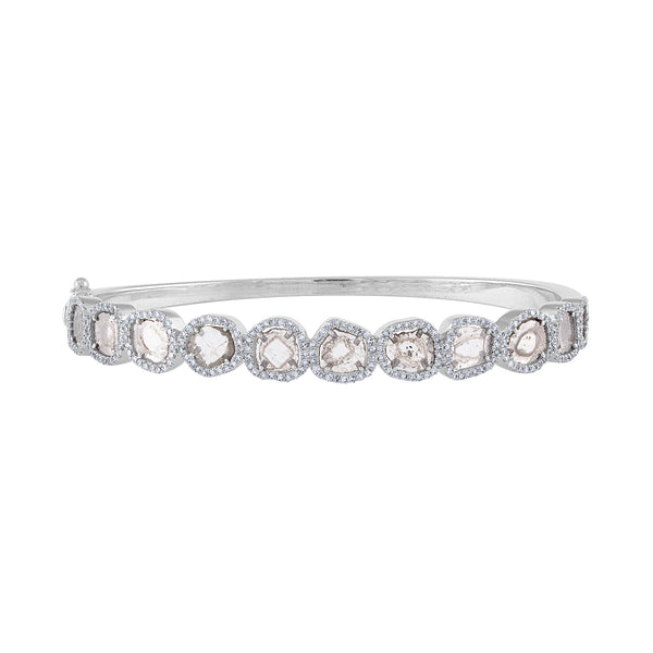 14K White Gold diamond slice bangle bracelet