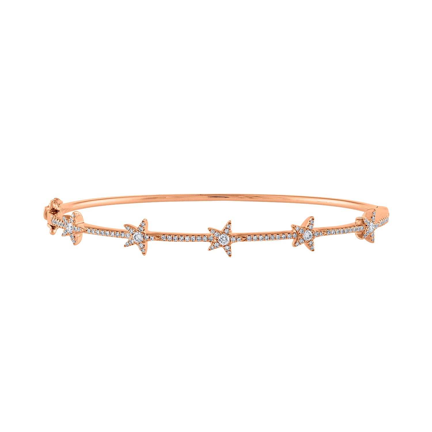 14K Rose Gold many star diamond bangle