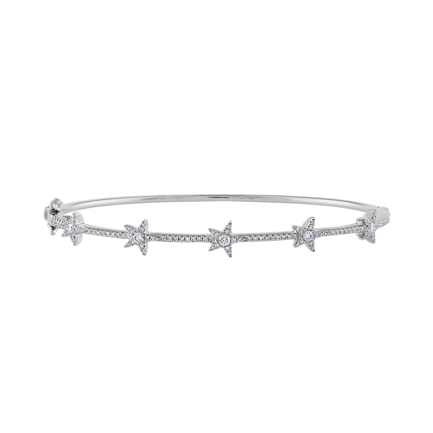 14K White Gold many star diamond bangle