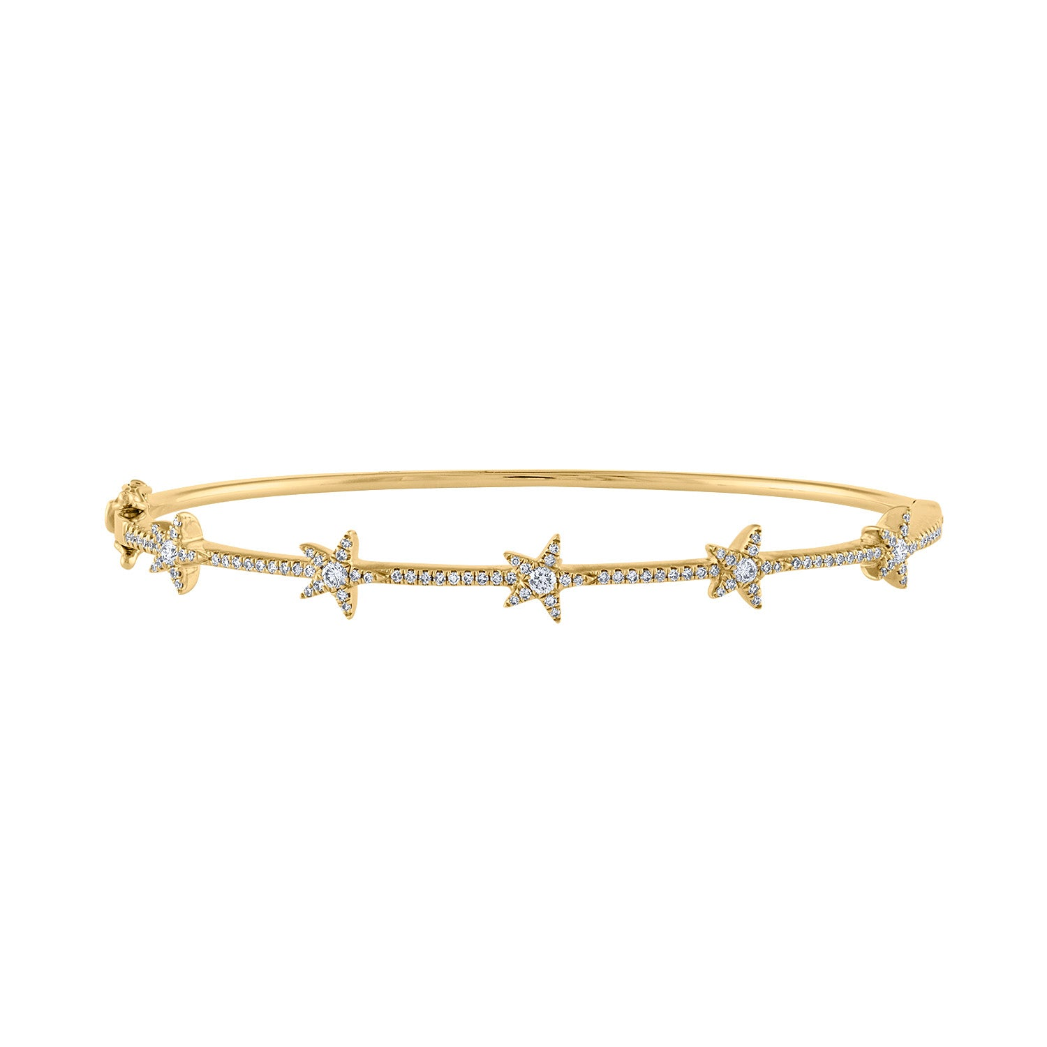 14K Yellow Gold many star diamond bangle