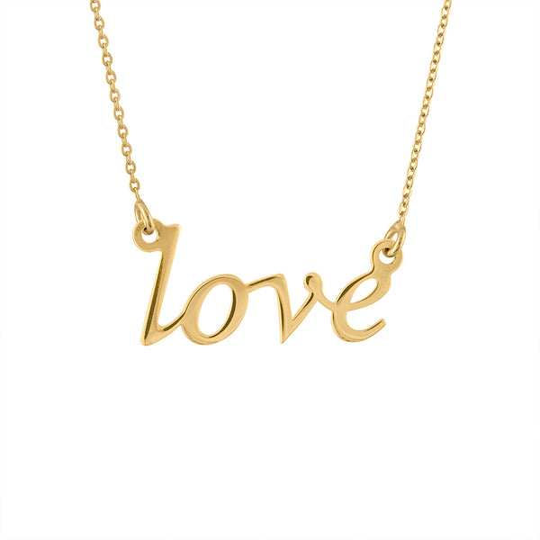 14KT GOLD LOVE SCRIPT NECKLACE