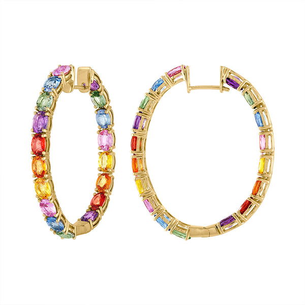 14KT YELLOW GOLD MULTI-COLOR SAPPHIRE OVAL HOOP EARRING