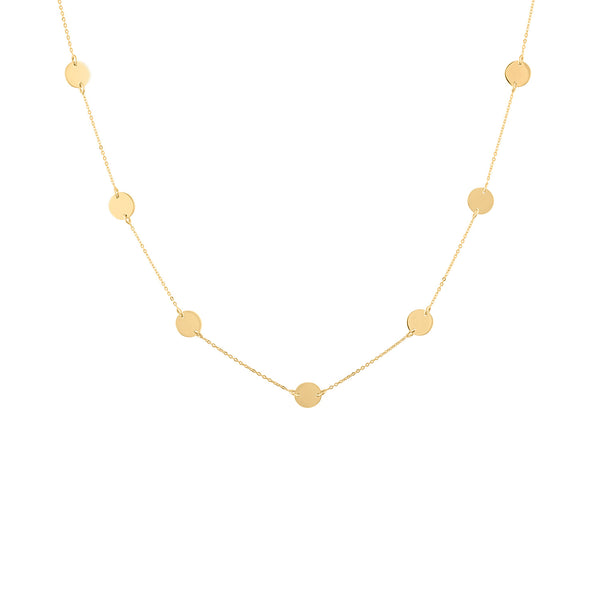 14KT GOLD 7 DISKS NECKLACE