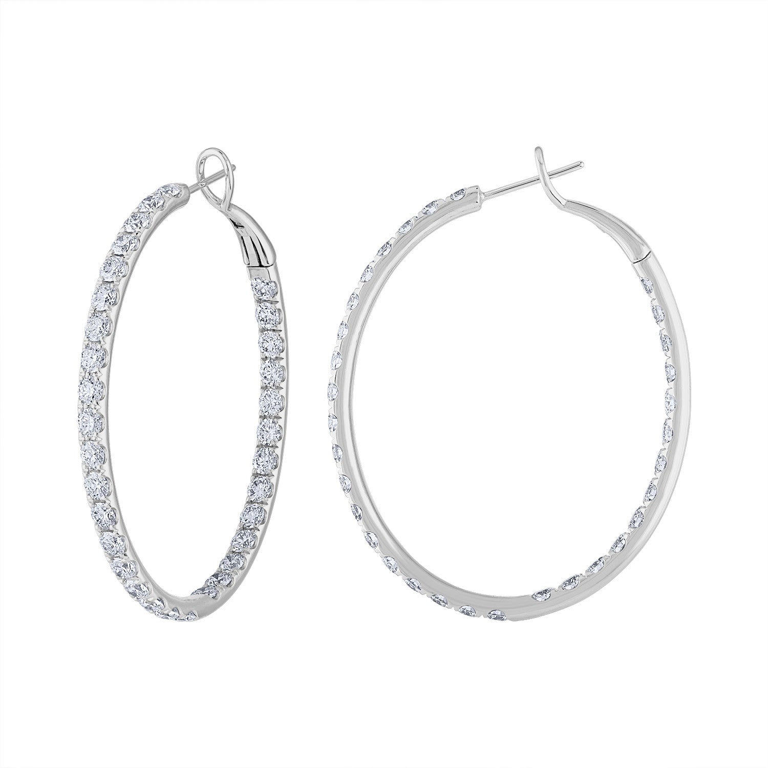 18KT GOLD DIAMOND LARGE OVAL HOOP EARRING