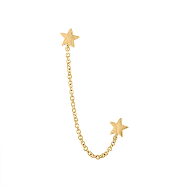 14KT GOLD STAR DOUBLE PIERCING SINGLE CHAIN EARRING