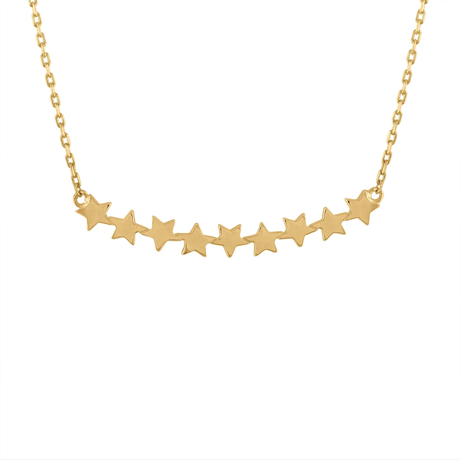 14KT GOLD 9 CONNECTED STARS NECKLACE