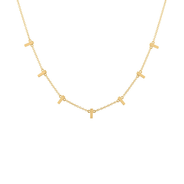 14KT GOLD 7 MINI BAR NECKLACE
