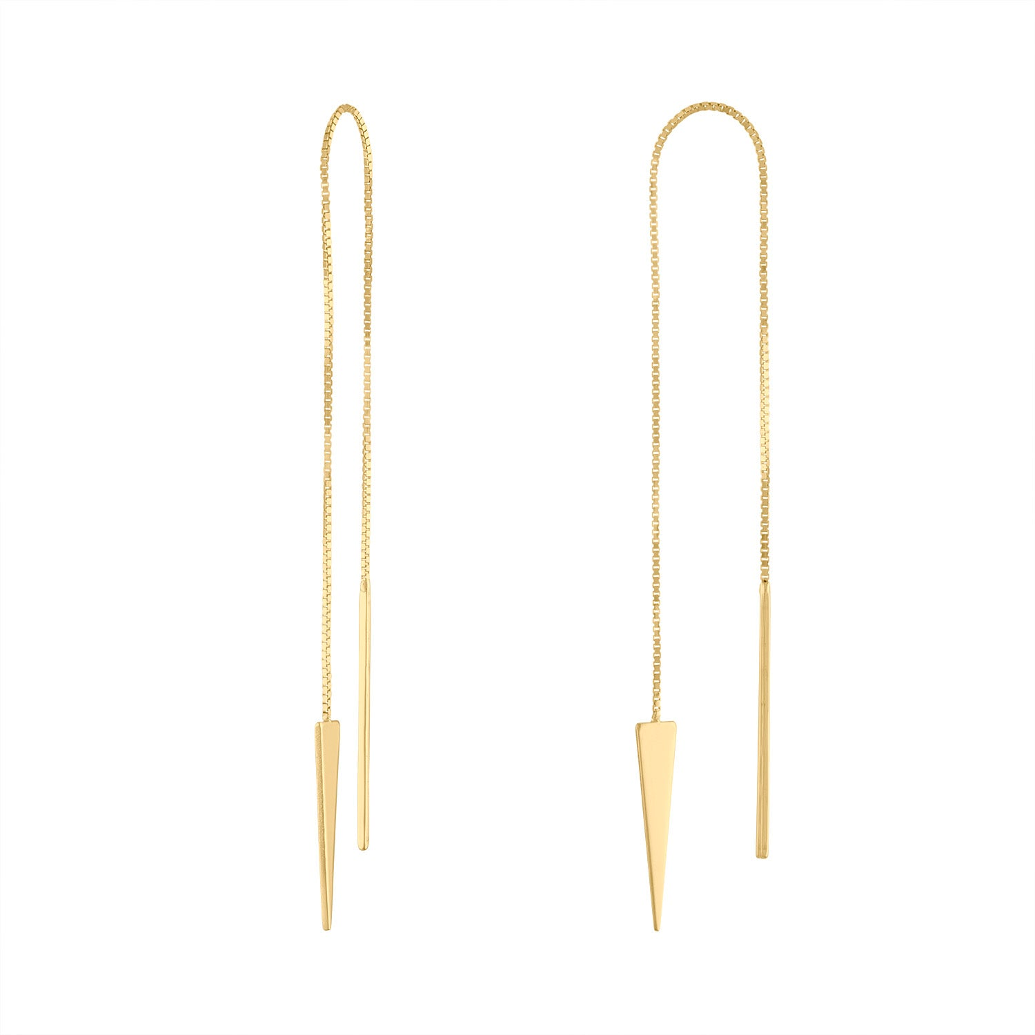 14KT GOLD ELONGATED TRIANGLE THREADER EARRING