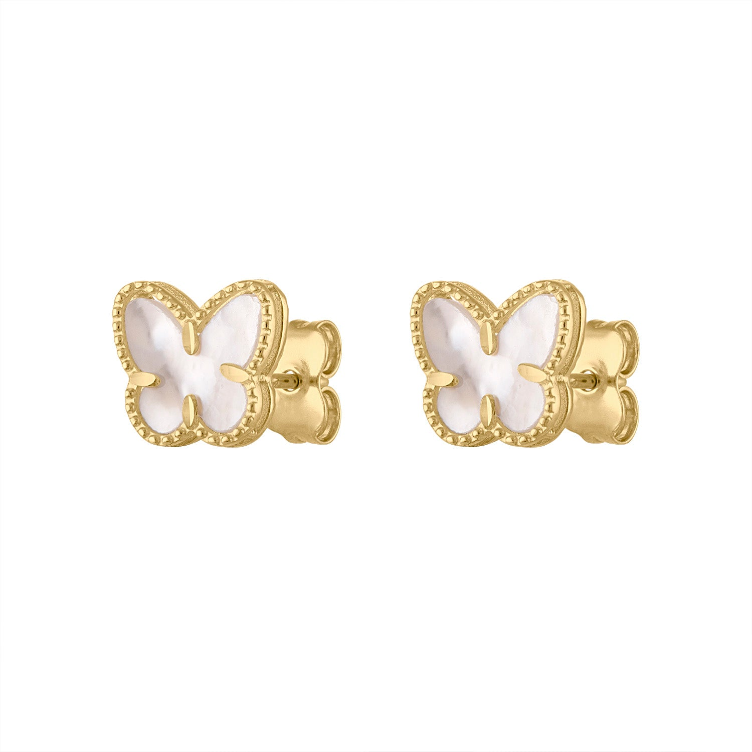 14KT GOLD MOTHER OF PEARL BUTTERFLY STUD EARRING