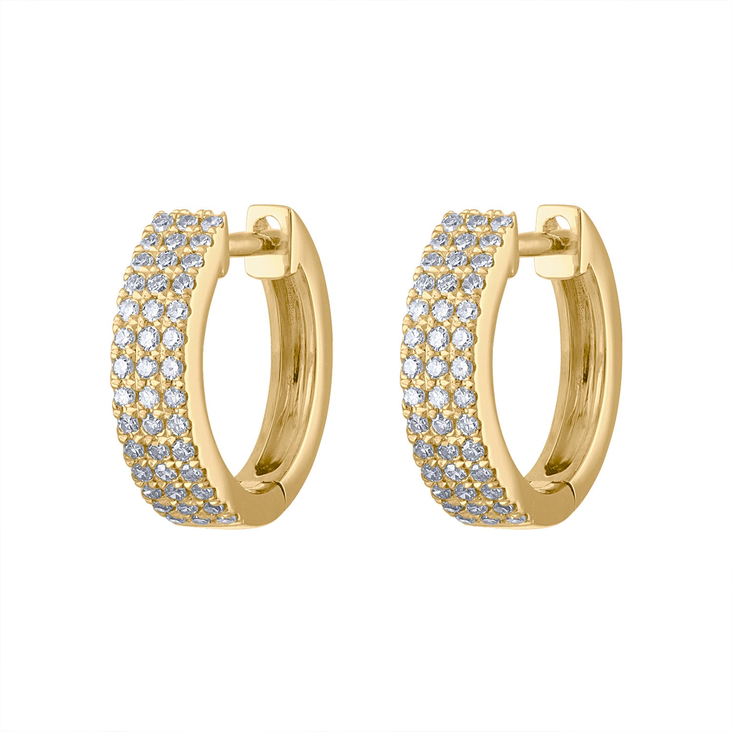 14KT GOLD THREE ROW PAVE DIAMOND HUGGIE EARRING
