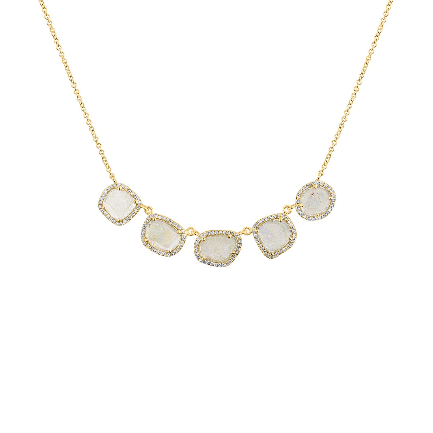 14KT GOLD DIAMOND 5 SLICE NECKLACE