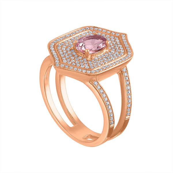 14KT ROSE GOLD DIAMOND AND MORGANITE SPLIT SHANK RING