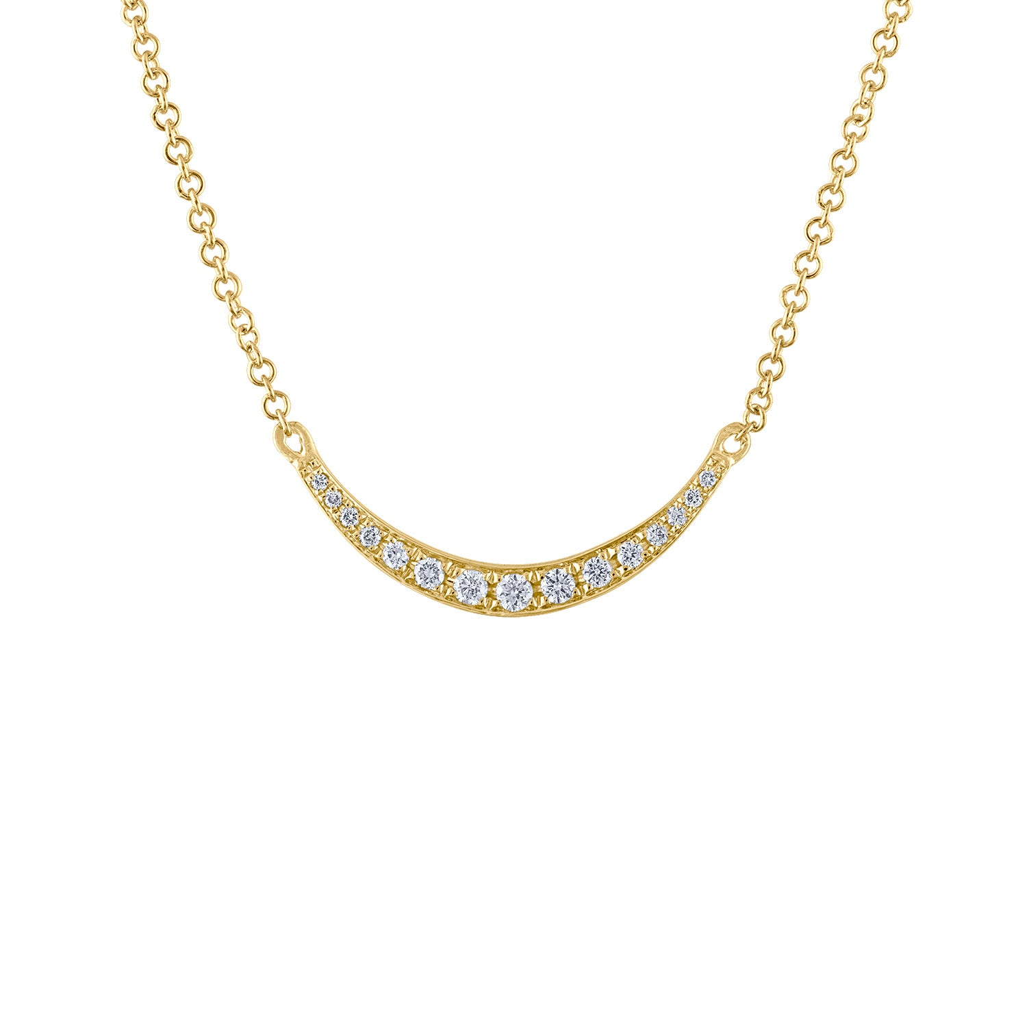 14KT GOLD DIAMOND HORIZONTAL CRESCENT MOON NECKLACE