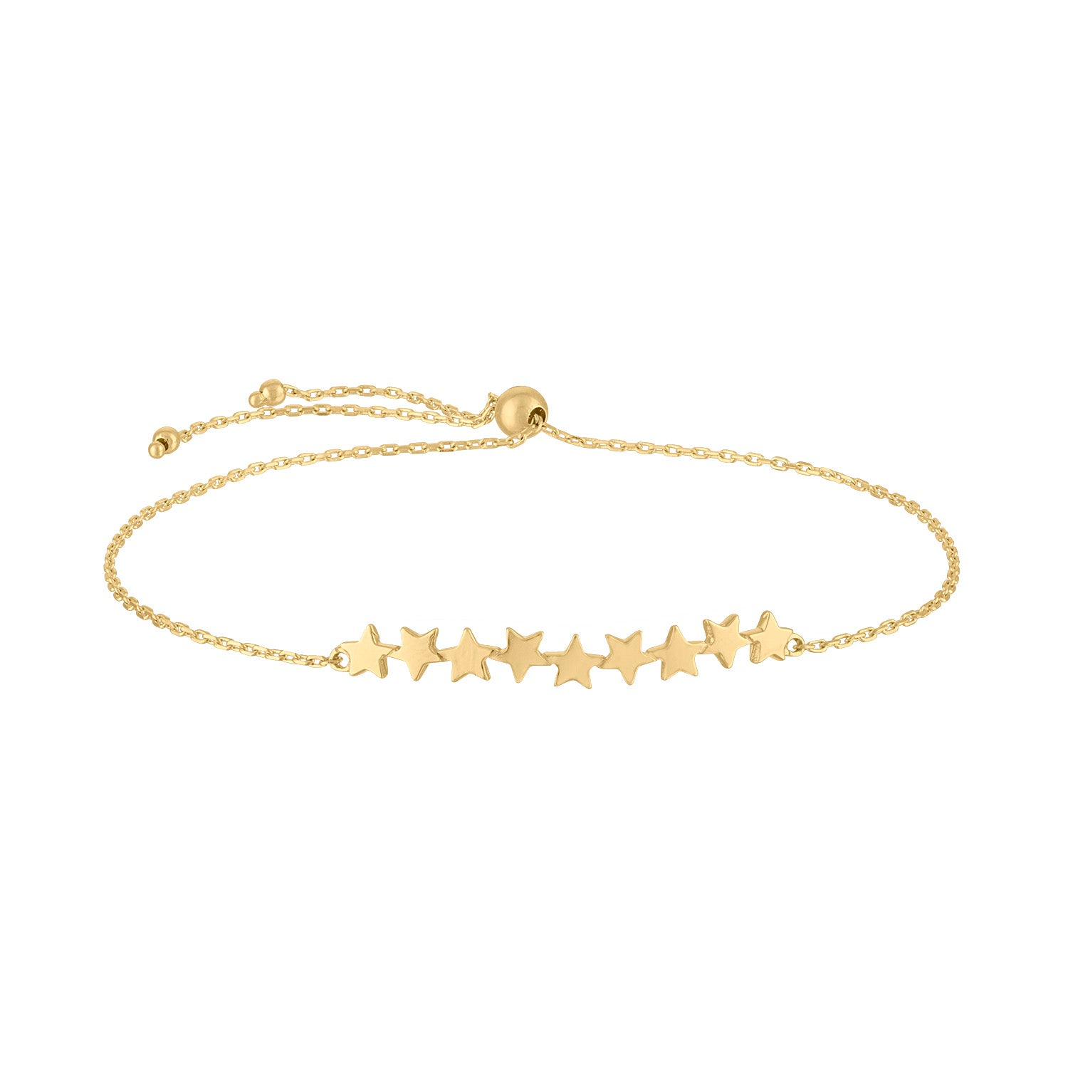 14KT GOLD CONNECTED STARS BOLO BRACELET