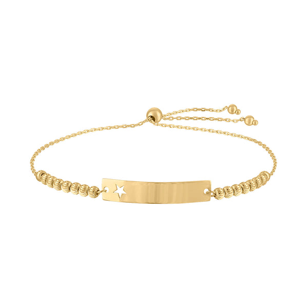 14KT GOLD CUTOUT STAR AND BEAD ENGRAVABLE BAR BOLO BRACELET