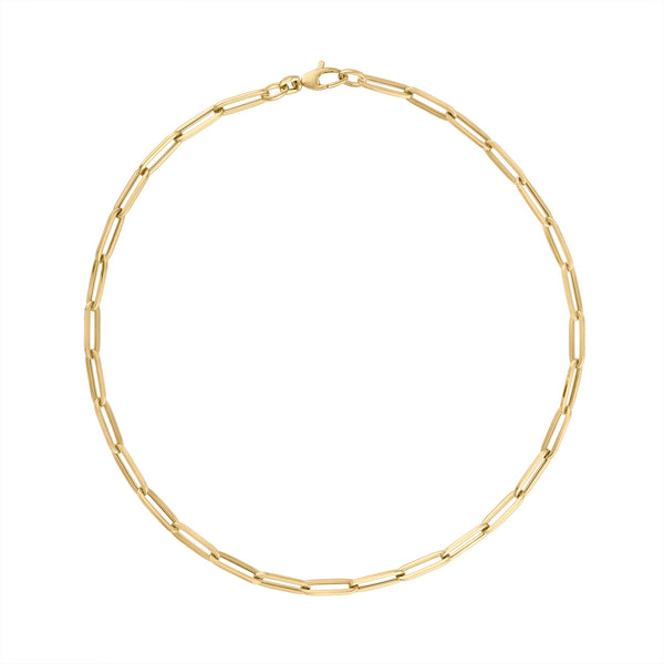 "14KT GOLD 16"" XL RECTANGLE LINK NECKLACE"