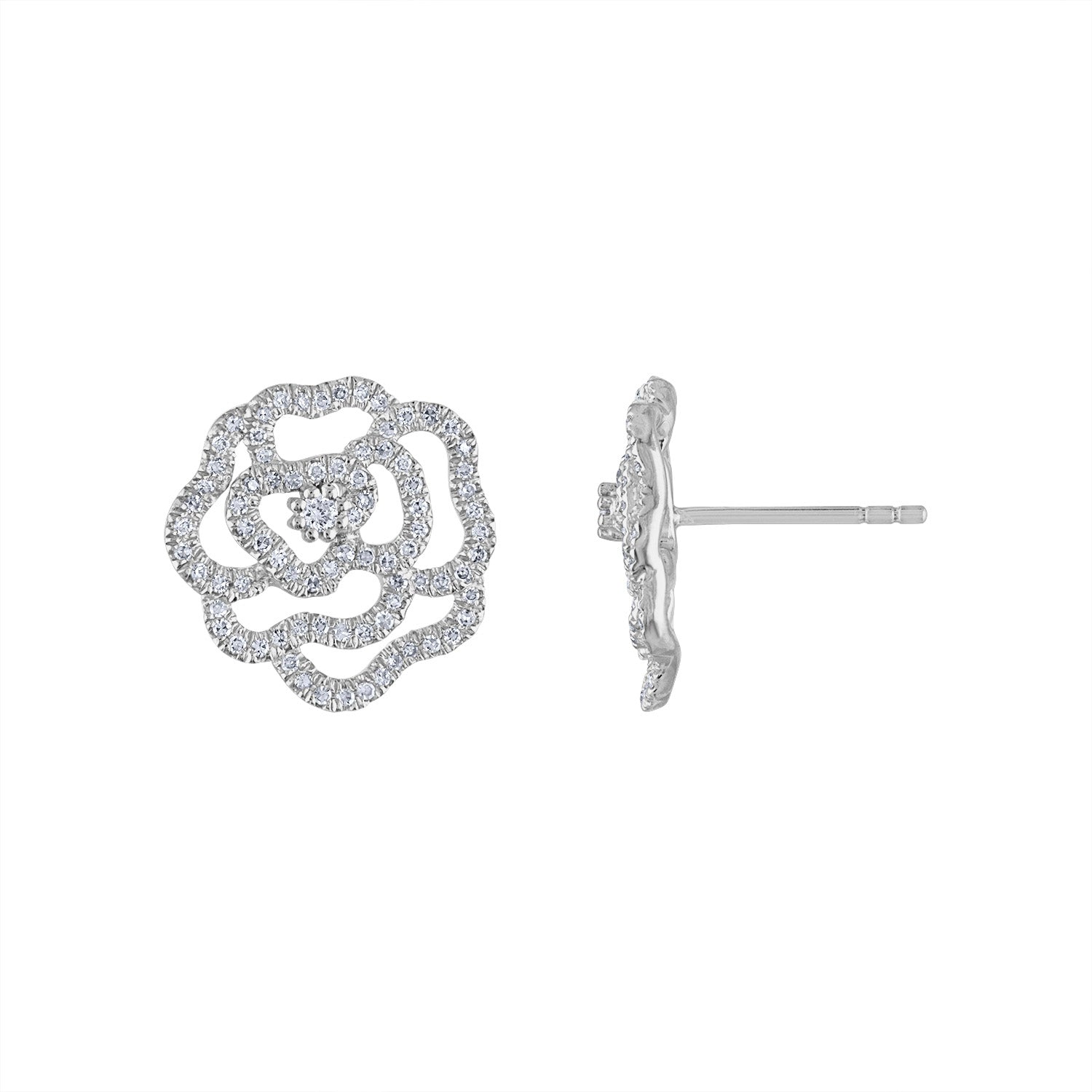 14KT GOLD DIAMOND LRG OUTLINE FLOWER STUD EARRING