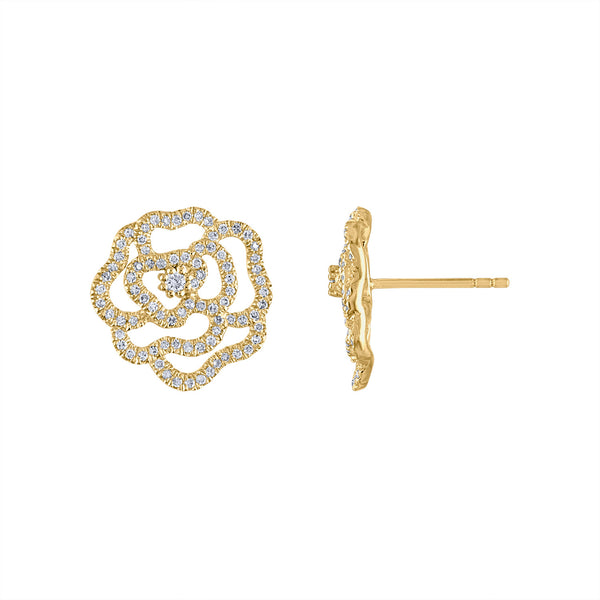 14KT GOLD DIAMOND OUTLINE FLOWER STUD EARRING