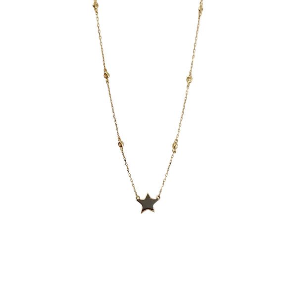 14KT GOLD STAR WITH 6 DIAMOND BEZEL NECKLACE