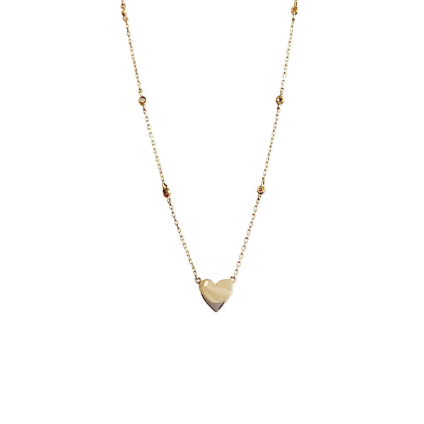 14KT GOLD HEART WITH 6 DIAMOND BEZEL NECKLACE